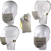 CUBREBOCAS Doble vista 100% LINO – Lavable – PUENTE NASAL ajustable – SOPORTE TRASERO con elástico para liberar presión de orejas – CÓMODO – PLIEGUES AJUSTABLES al todo tipo de rostro – UNISEX – ELEGANTE – DOBLE capa de LINO – Prueba de aerosol SUPERADA – SEGURO – BOLSA de REGALO en color trigo para la PORTABILIDAD del cubrebocas.