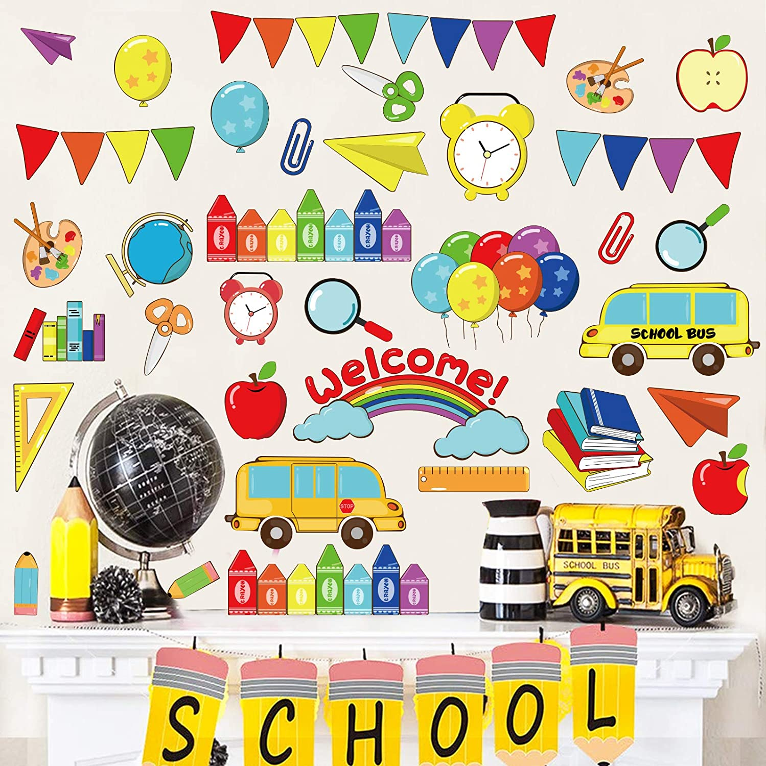 Ivenf First Day of School Stickers Wall Decorations, Extra Large Classroom School Home Party Supplies Decals, Window Bulletin Board Decor Gifts, 6 Sheet
