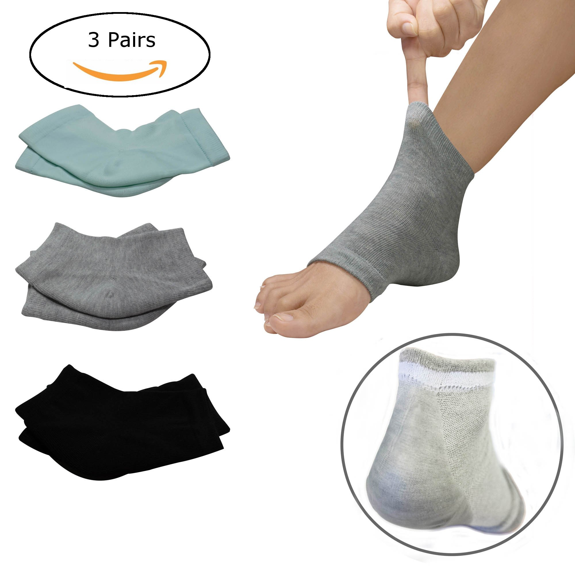 3 PAIRS-Moisturizing Gel Heel Socks w/ Enriched Vitamins for Dry Hard Cracked Heels & DIY Simple Home Remedies by Triim Fitness