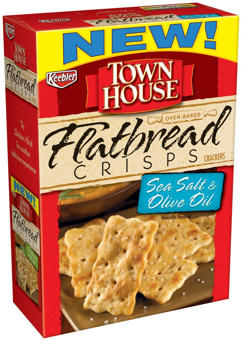 Town House Flatbread Crisps Crackers, Sea Salt and Olive Oil, 9.5-Ounce Boxes (Pack of 4)