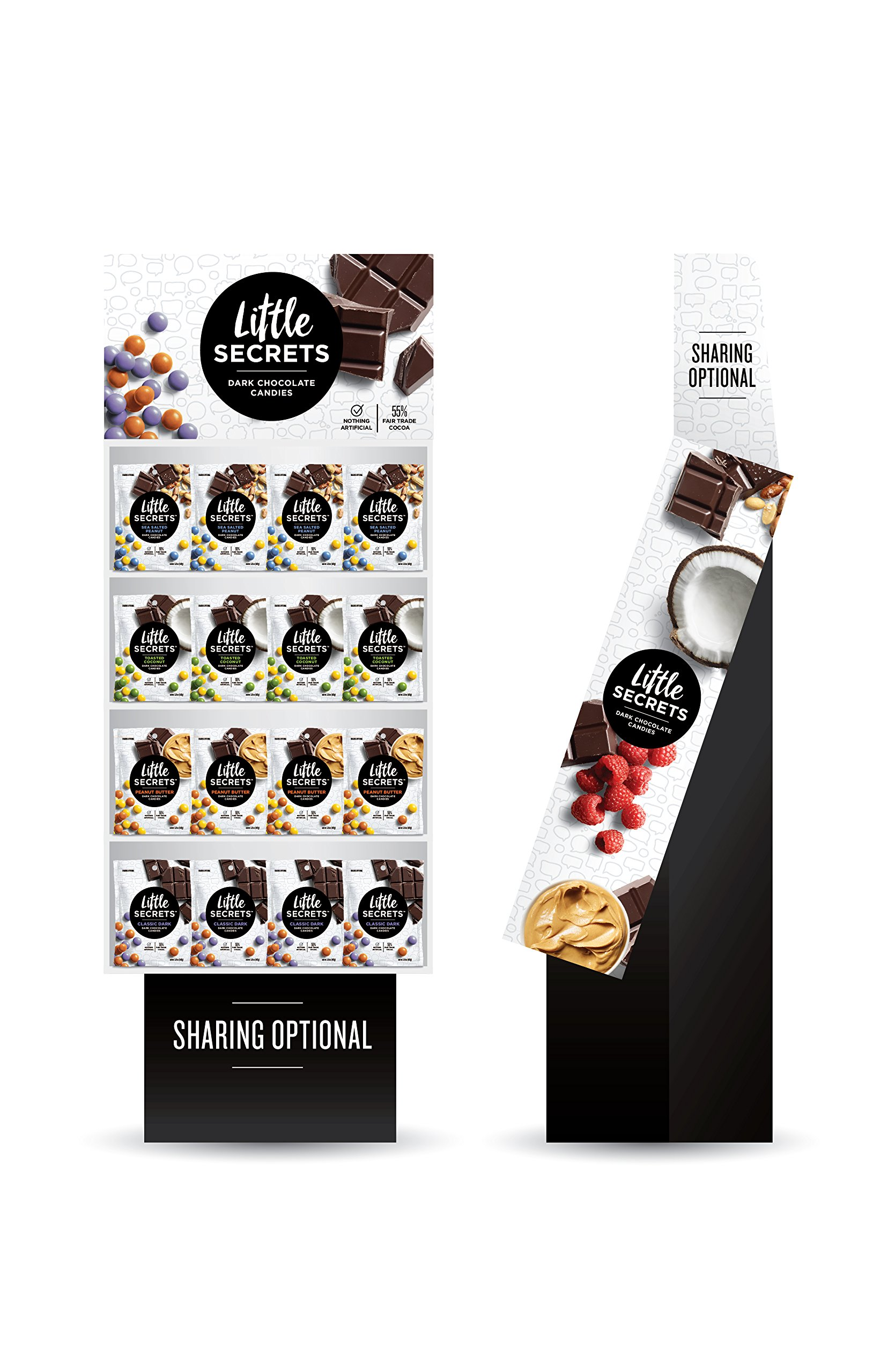 Little Secrets - All Natural Fair Trade Gourmet Chocolate Candy - 4 Flavor Variety Shipper - {60ct, 5oz Bags} The World's Most Delicious Chocolate Candies