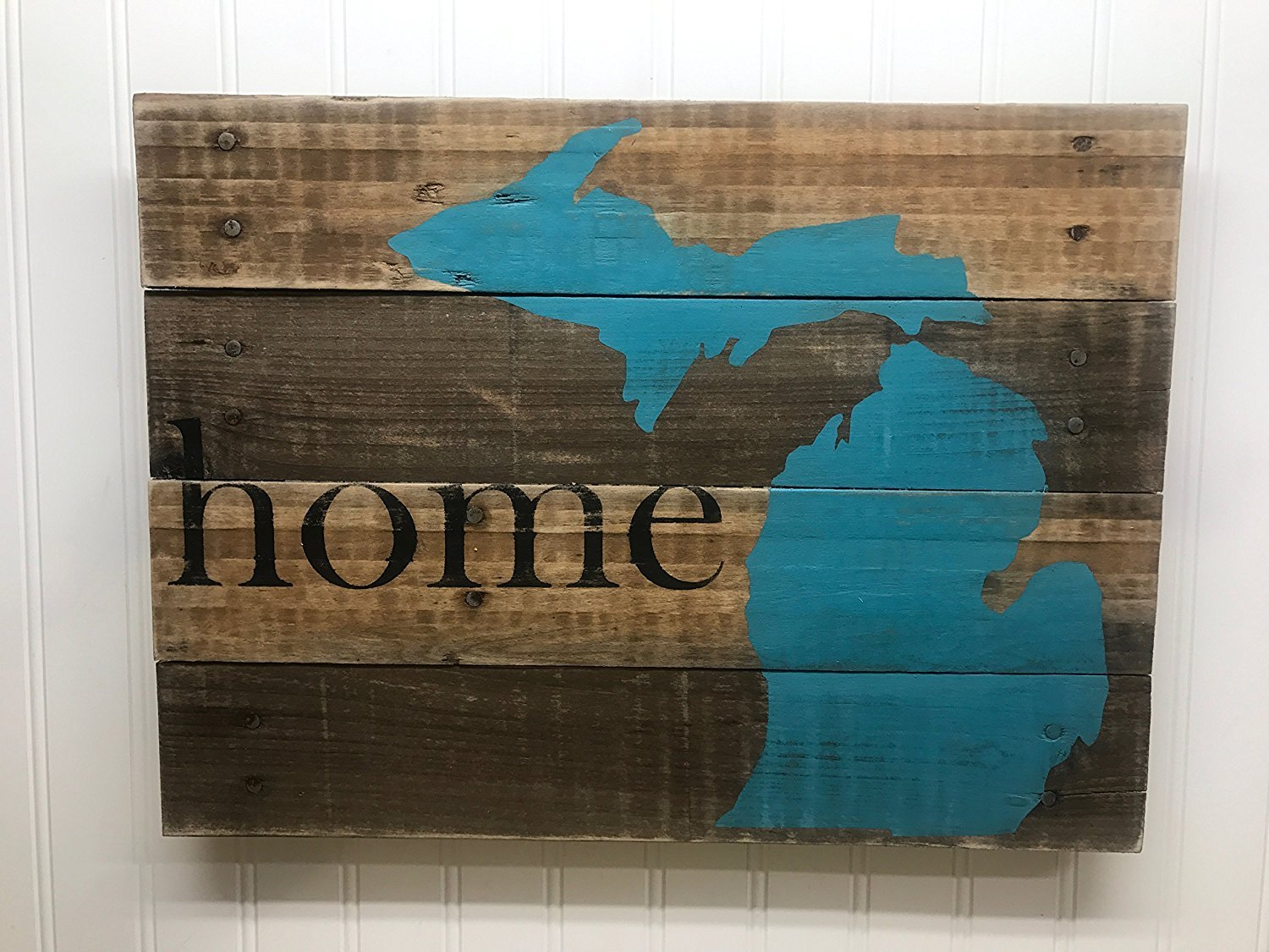 Custom Home State Wall Art Sign from Reclaimed Pallet Wood 14x18