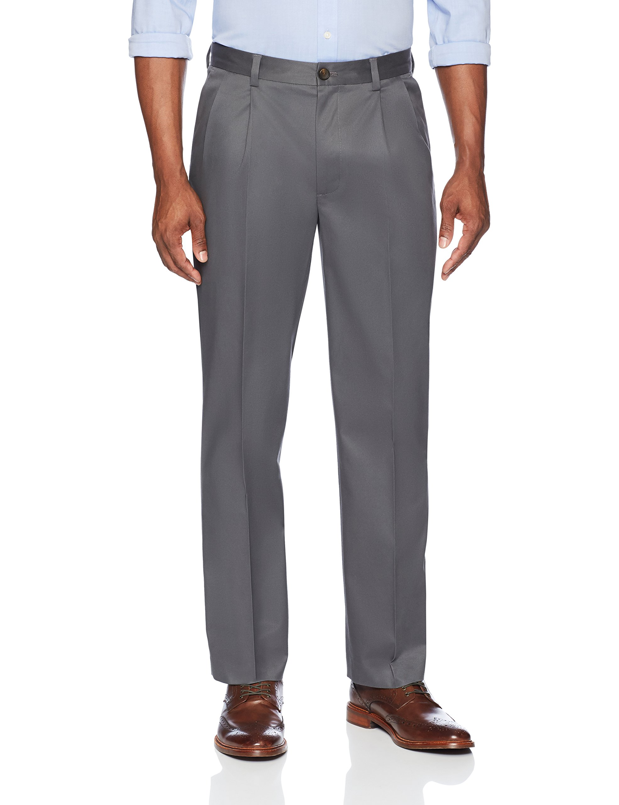 Buttoned Down Men's Relaxed Fit Pleated Stretch Non-Iron Dress Chino Pant, Dark Grey, 34W x 32L