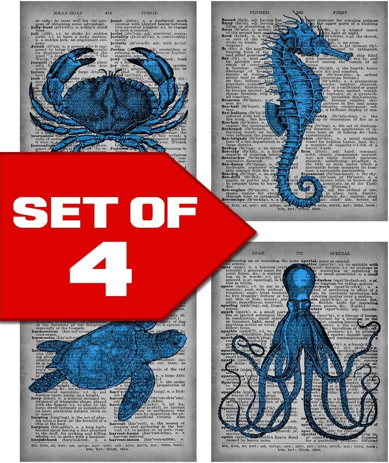 Wallables Blue Sea Life Dictionary Style Wall Art Bundle, Set of Four 8x10 Prints, Sea Horse, Octopus, Sea Turtle and Crab. Perfect for home, office, business. Designed exclusively for