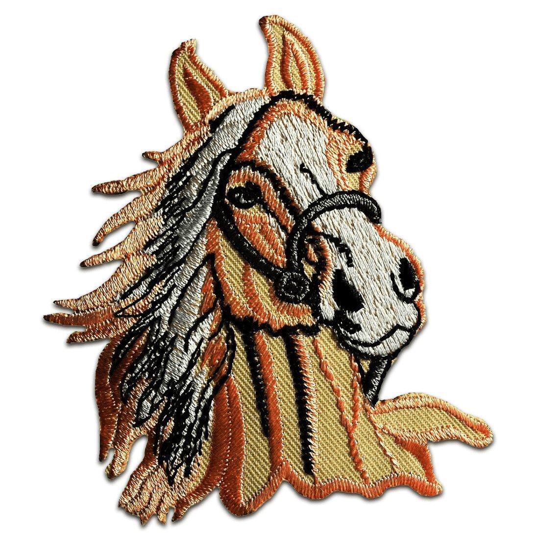 orange Patch Aufb/ügler Applikationen zum aufb/ügeln Applikation Patches Flicken 7,3 x 9 cm Pferd Hengst Tier Aufn/äher // B/ügelbild