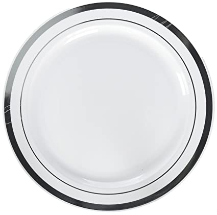 Amazoncom White With Silver Trim Premium Plastic Round Plates