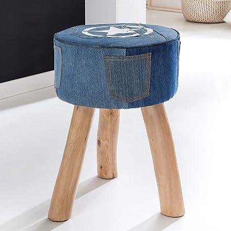 Massiv Holz Sitzhocker Holzhocker rund 2 Farben Design Polster Hocker