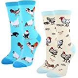 HAPPYPOP Womens Novelty Crazy Funny Cute Chicken Goat Hen Bee Cat Otter Gifts Socks