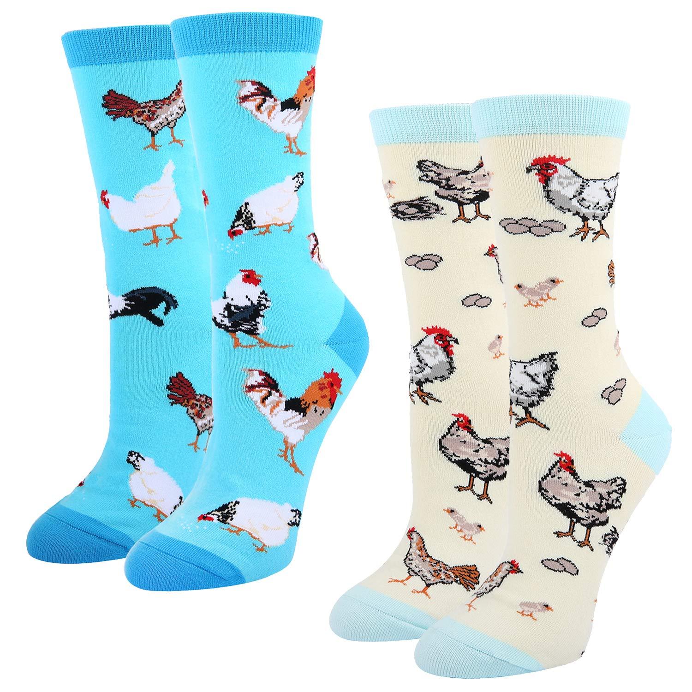 Women's Crazy Funny Crew Socks,Novelty Chicken Egg Hens Rooster Dress Socks,2 pack with Gift Box