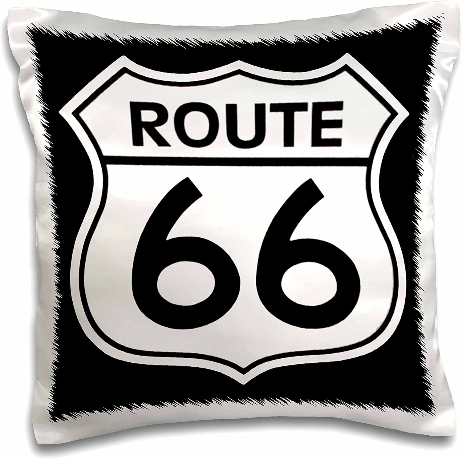 Black and White-Pillow Case 16 by 16 3dRose pc/_110012/_1 Route 66