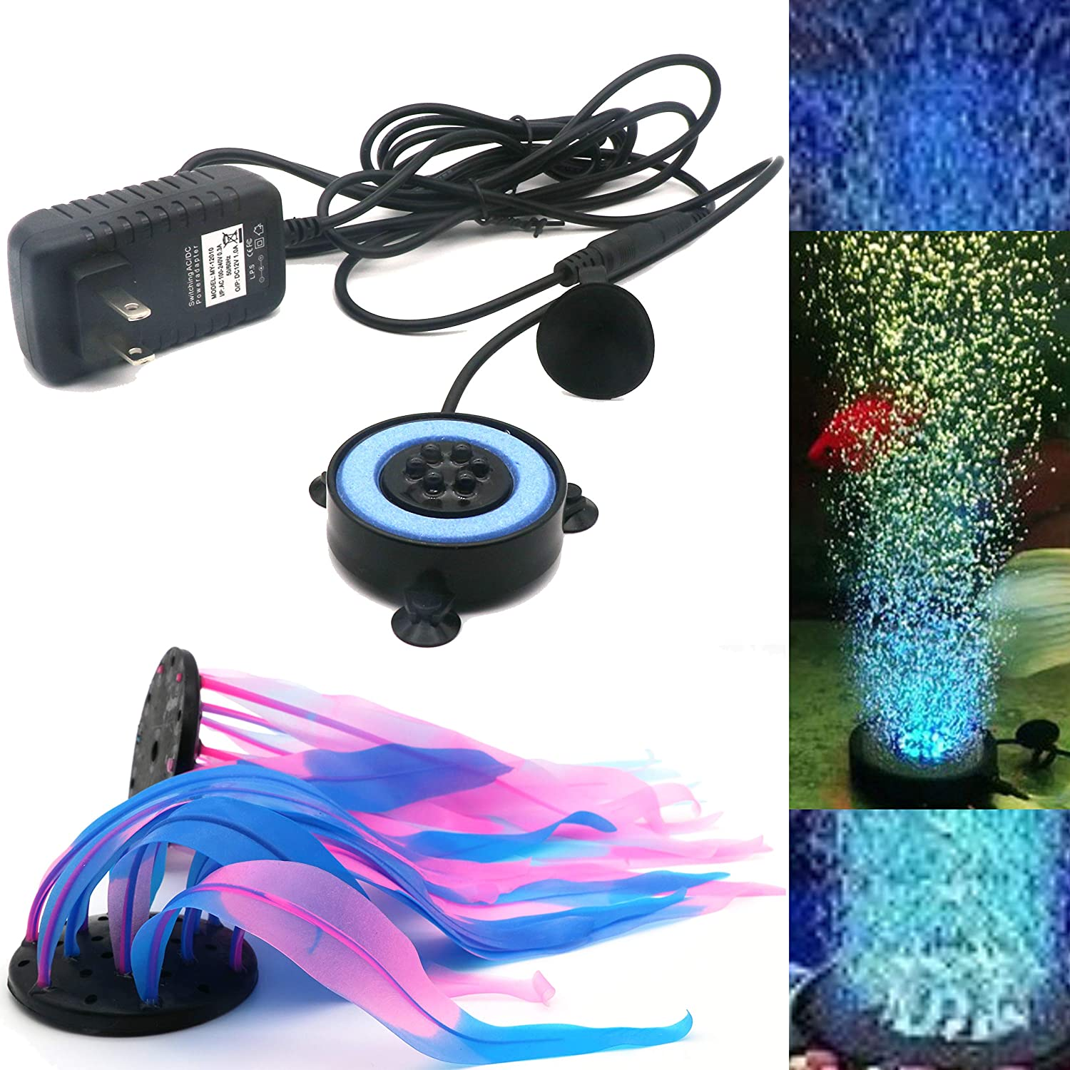 SunKni 2 Pack Glowing Effect Kelp Aquarium Decorations Plants Fish Tank Ornaments Artificial Floating Silicone Décor Landscape 7 Inches Seaweed Colorful