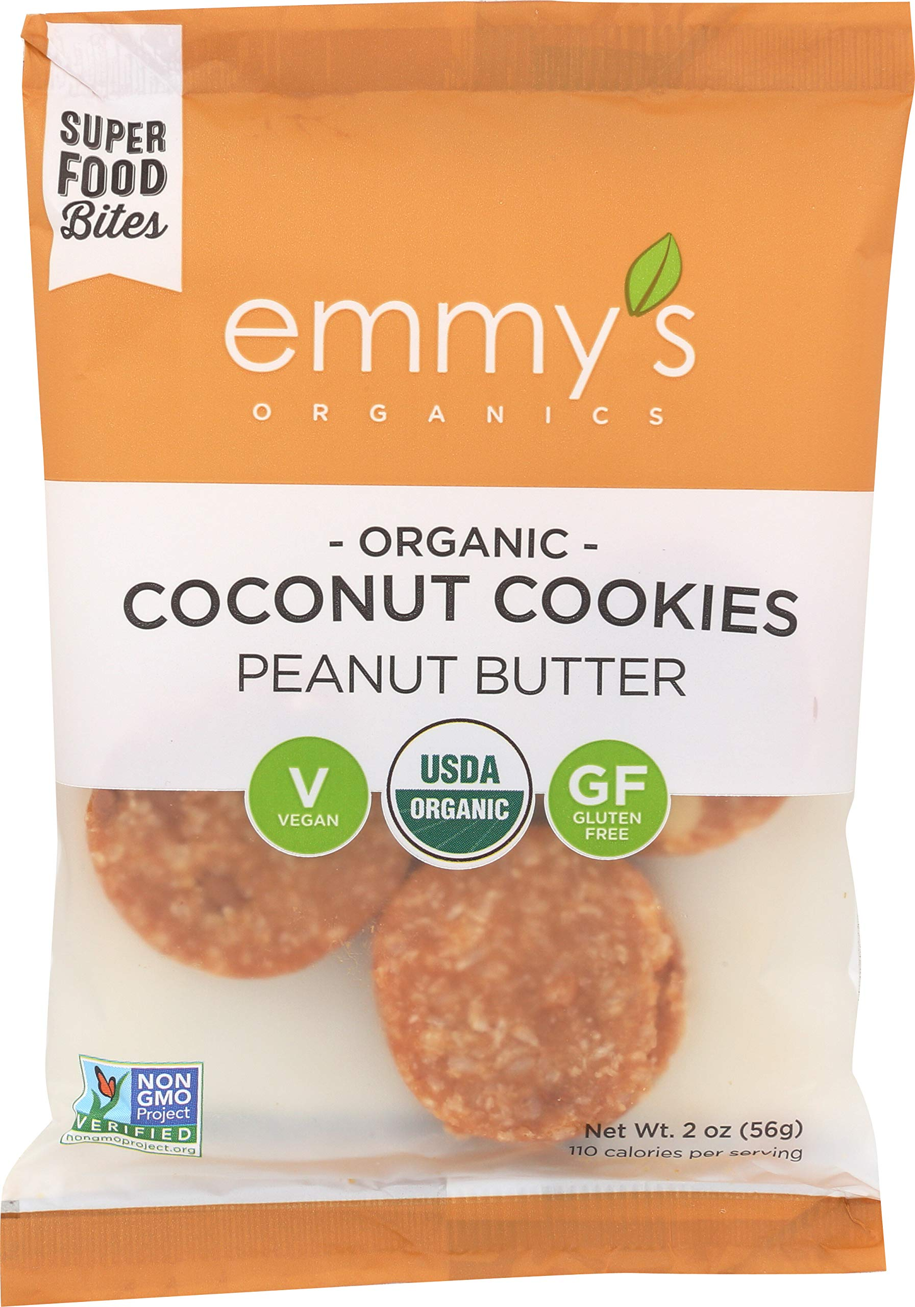Emmy's Organics Coconut Cookies, Peanut Butter, 2 oz (Pack of 12) by Emmy's