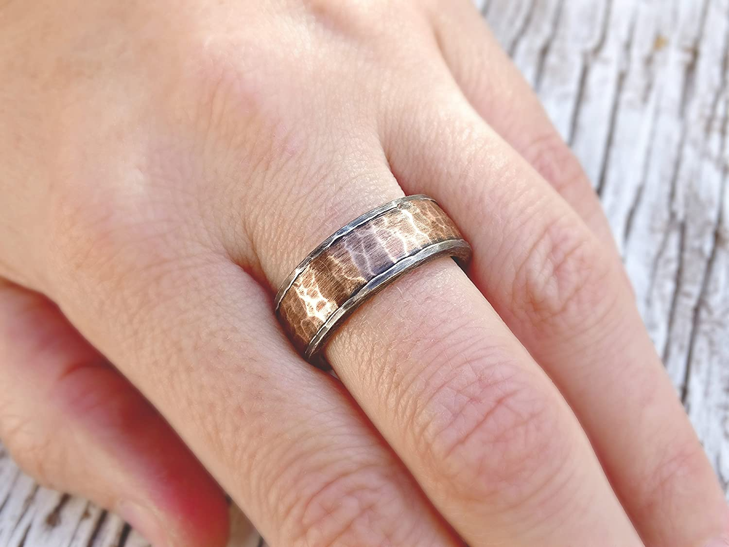 Amazon.com: forged silver bronze ring, cool mens ring, mens wedding ...