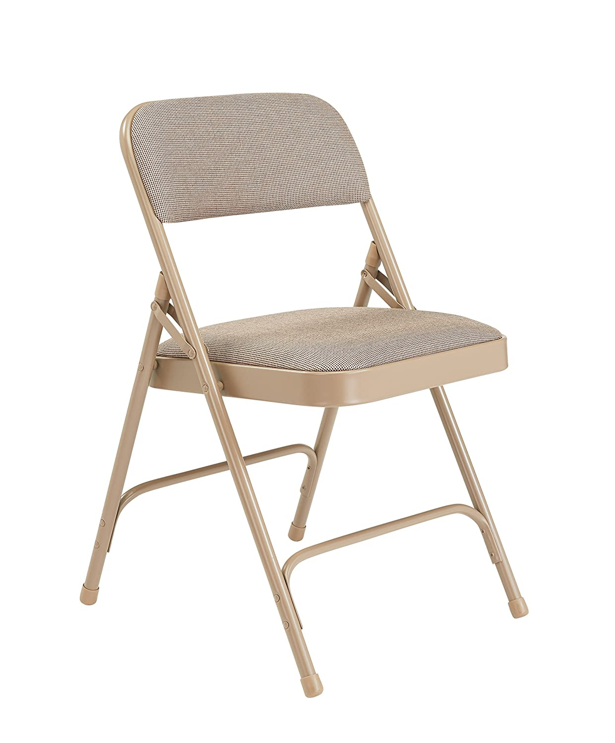 National Public Seating 2201 Series Steel Frame Upholstered Premium Fabric Seat and Back Folding Chair with Double Brace, 480 lbs Capacity, Cafe Beige/Beige (Carton of 4)