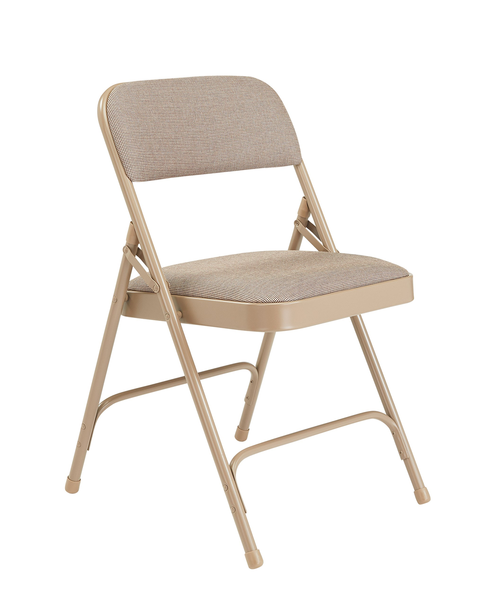 National Public Seating 2201 Series Steel Frame Upholstered Premium Fabric Seat and Back Folding Chair with Double Brace, 480 lbs Capacity, Cafe Beige/Beige (Carton of 4) by National Public Seating