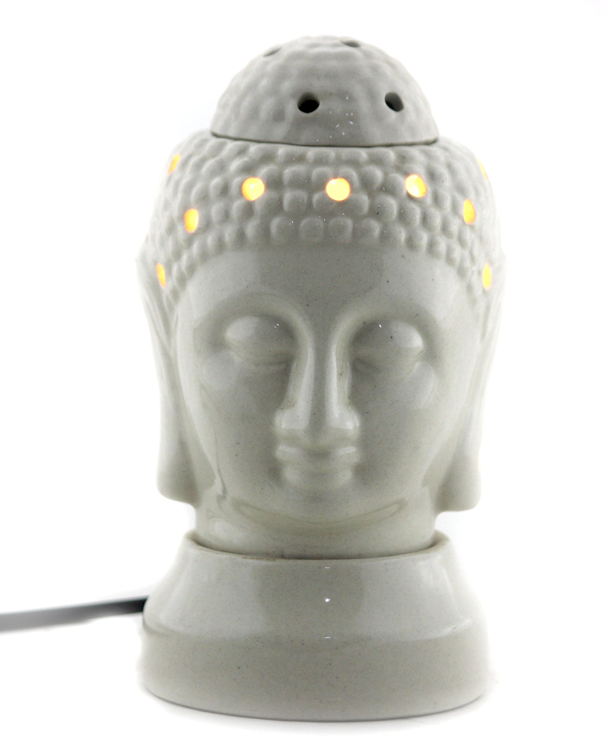 Brahmz Ceramic Electric Aroma Oil Burner Corded Oil Warmer Wired Aroma Diffuser Essential Oil Diffuser Aromtherapy Lamp Electric Buddha OCER-92 (White)