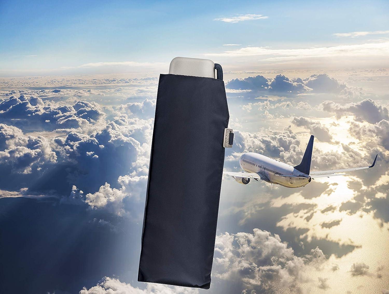 doppler Regenschirm Traveler Slim Federleicht und kompakt Navy Flaches Format 22 cm