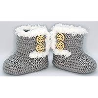 Patucos para bebé de crochet, Unisex. Estilo botas Canadá de color a elegir, realizadas en lana, tallas de 0 hasta 9…