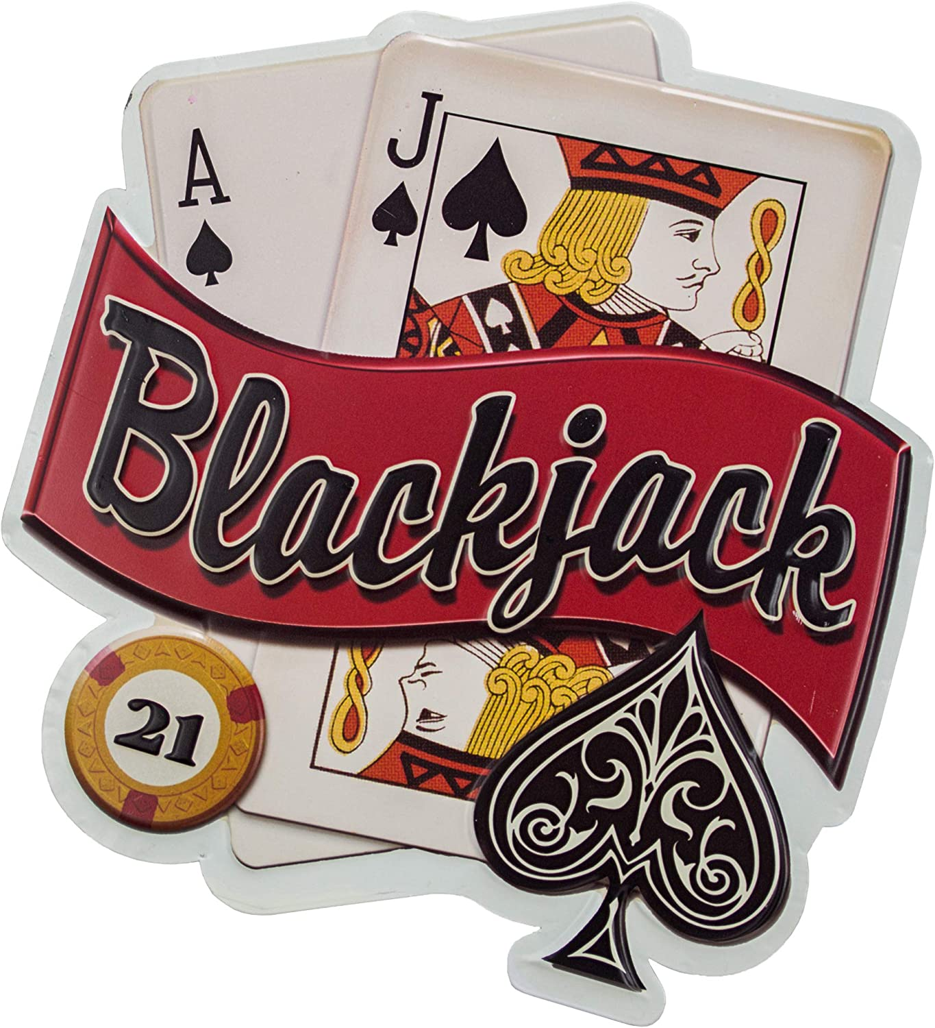 Blackjack Embossed Metal Wall Decor Sign for Bar, Garage or Man Cave