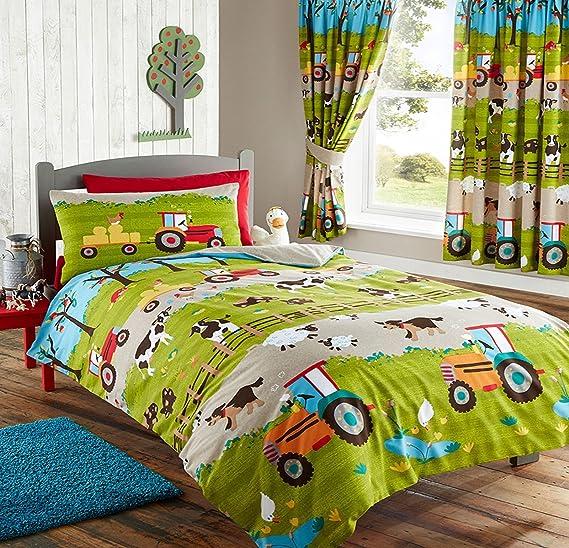 Vorhange 137cm 183cm Tiere Auf Der Farm Traktoren Schlafzimmer Bettbezug Set