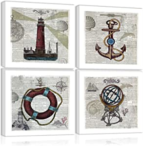 Anchor An Lighthouse Swimming Ring Globe Sailboat Wall Art Decor Boat Ship Steering Wheel Canvas Painting Kitchen Prints Pictures For Home Living Dining Room