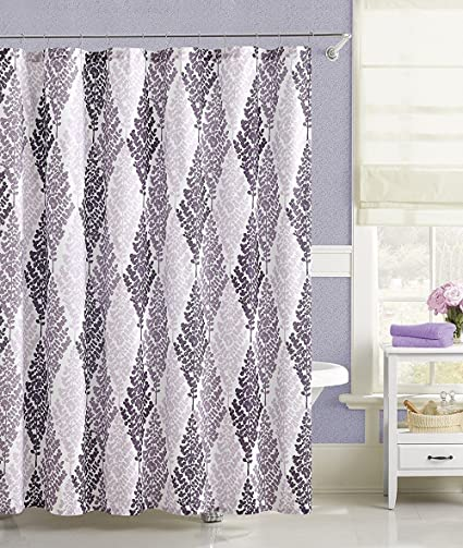 Image Unavailable Not Available For Color Purple White Floral Geometric Fabric Shower Curtain