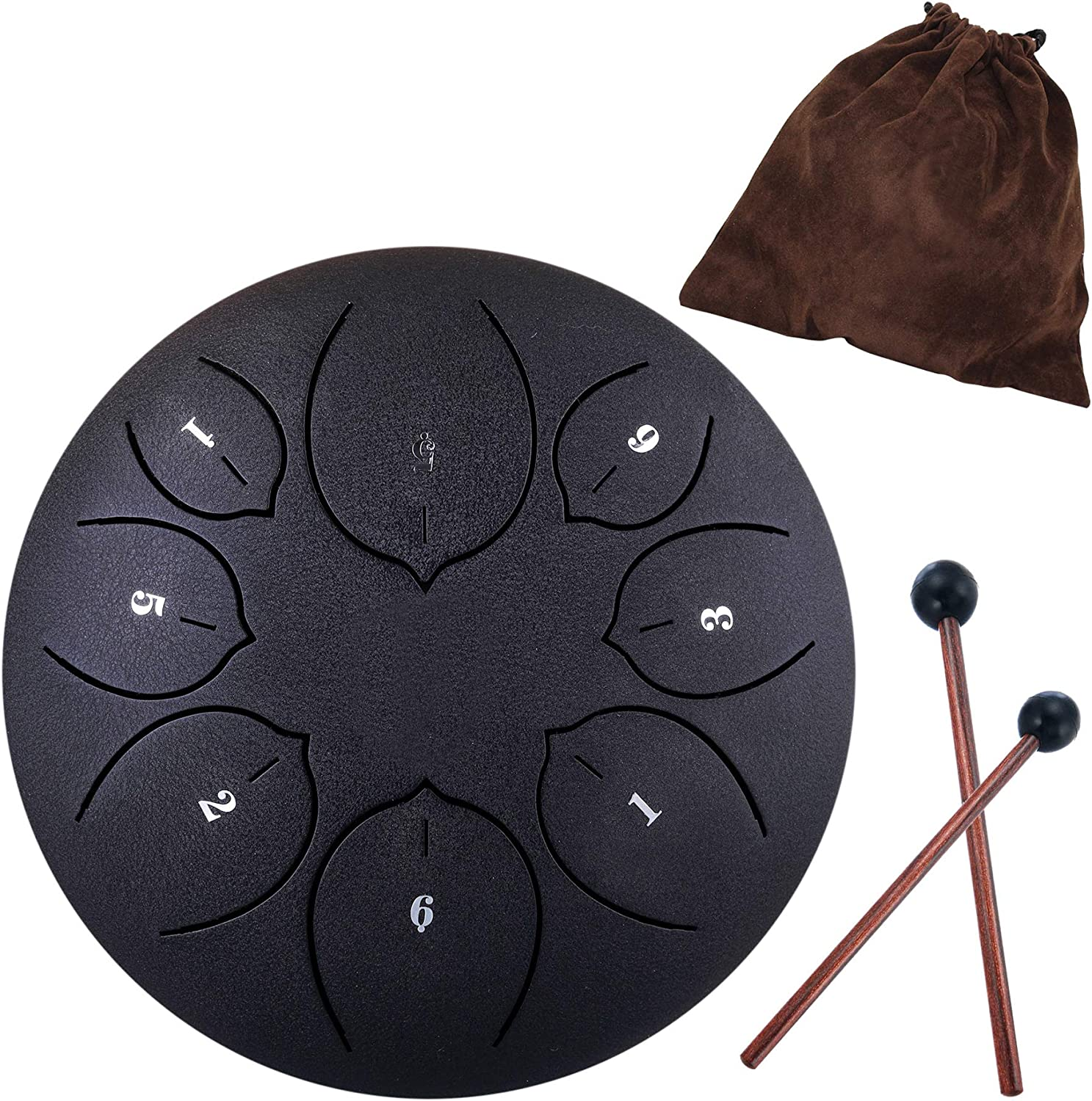 Lotus Handpan Tongue Drum 11 Notes 10 Inches Chakra Tank Drum Steel Percussion Hang Drum Instrument with Padded Travel Bag and Mallets Green