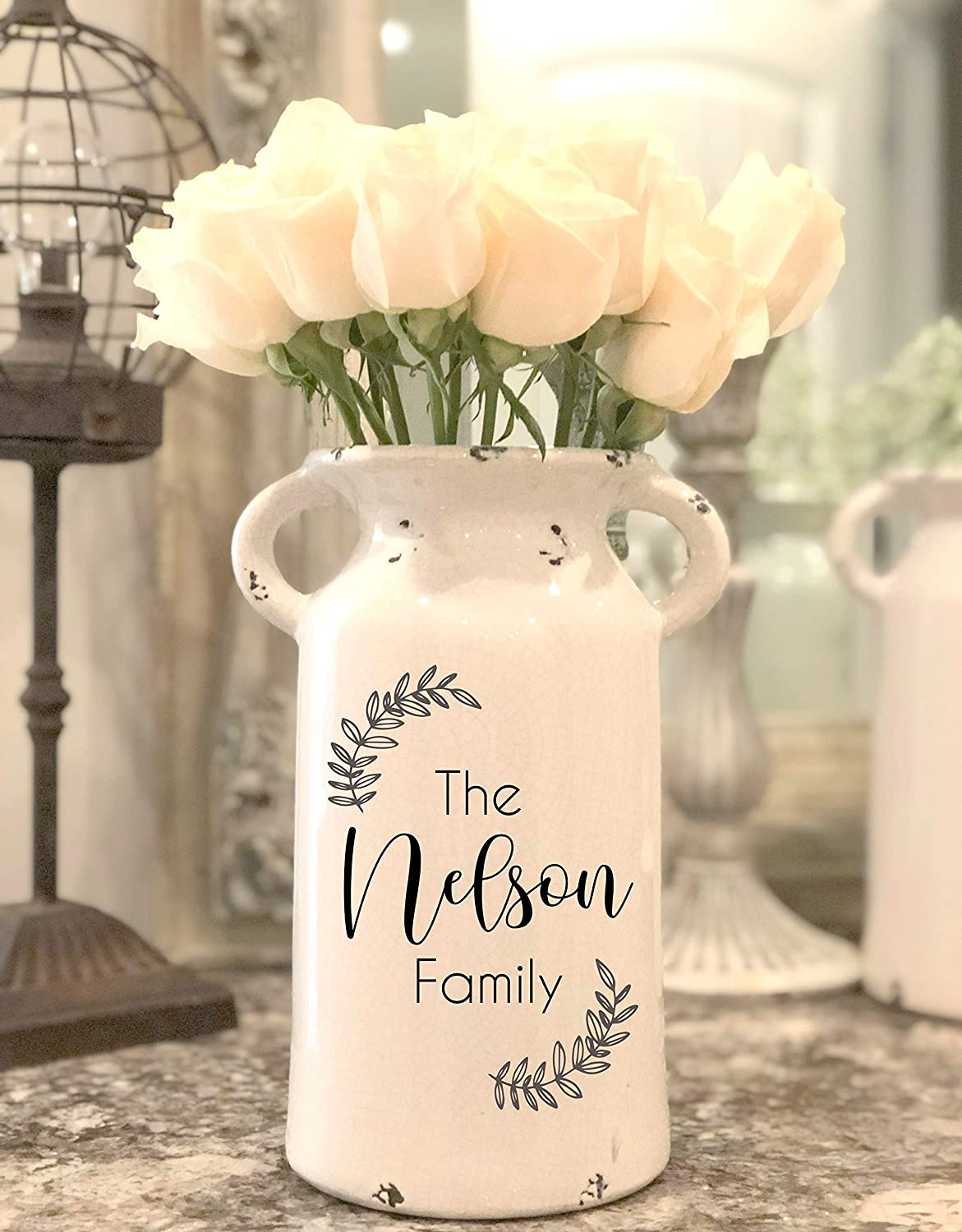 Personalized Wedding Gifts Personalized Ceramic Milk Can Housewarming Gift Farmhouse Milk Can Personalized Flower Vase Personalized Milk Can Handmade Products Home Kitchen