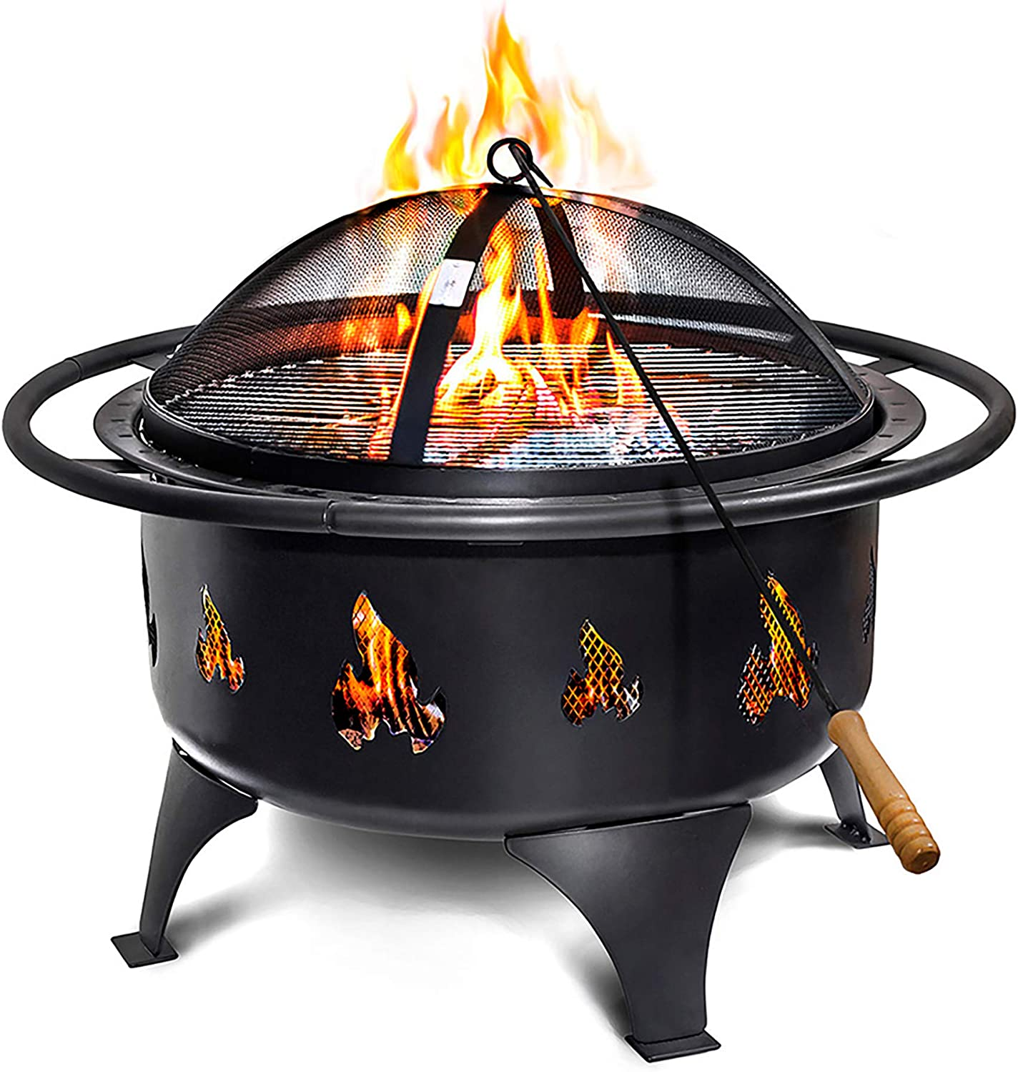 Fire Pits Outdoor Wood Burning Portable 24 Easy Clean Fire Pit W Grate Wood Poker Fire Screen Amazon Ca Patio Lawn Garden