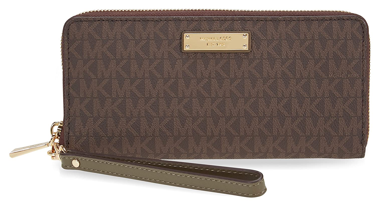 Michael Michael Korsジェットセット旅行ロゴコンチネンタルウォレット B07577P9N2 L|Brown and Olive Brown and Olive L