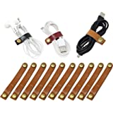 10 Pcs Leather Cable Straps Cable Tie Wraps Cord Management Holder Keeper Earphone Wrap Winder Wire Ties Cord Organizer…
