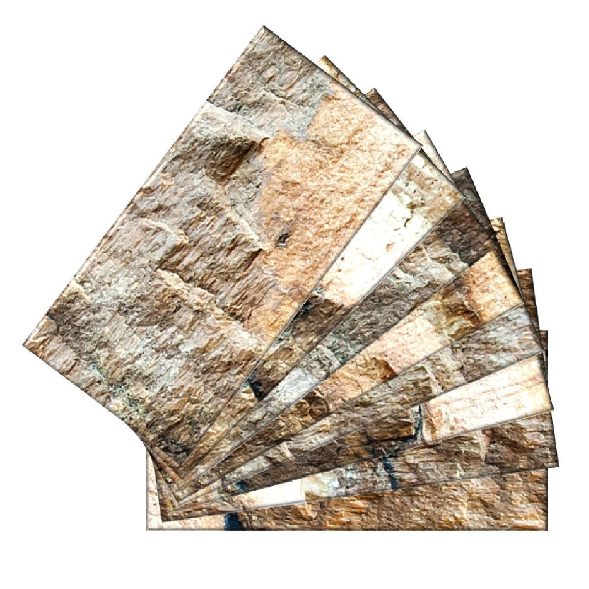 SkinnyTile 4403 Peel and Stick Rock Surface Shades Glass Wall Tile, 6'' x 3'', Brown/Tan