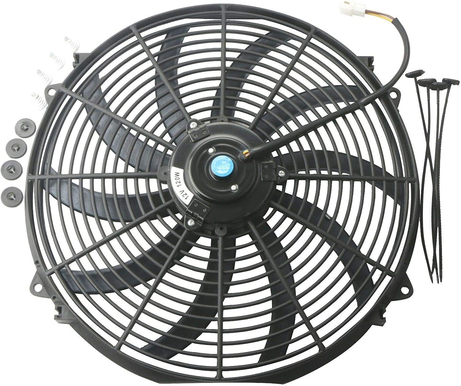 "LTI Universal High Performance S Blade Pull/Push 12V Slim Electric Cooling Radiator Fan + Fan Mounting Kit (16"", Black)"