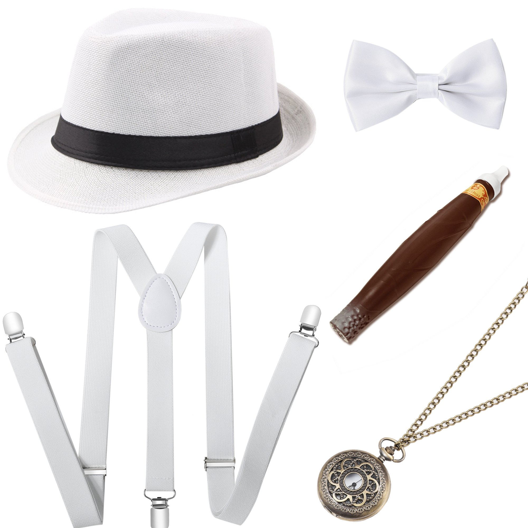 BABEYOND 1920s Mens Gatsby Costume Accessories Set Panama Hat Elastic Y-Back Suspender Pre Tied Bow Tie Pocket Watch and Plastic Cigar (White Set