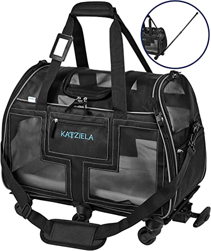 Katziela Airline Approved Pet Carrier – Rolling Portable Travel Carry Crate for Small Dog, Puppy or Cat – Soft Removable Wheeled Design with Mesh Window Sides – Airplane and TSA Compliant
