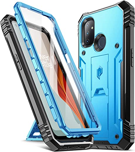 Poetic Revolution Series Case for OnePlus Nord N100, Full-Body Rugged Dual-Layer Shockproof Protective Cover with Kickstand and Built-in-Screen Protector,Blue