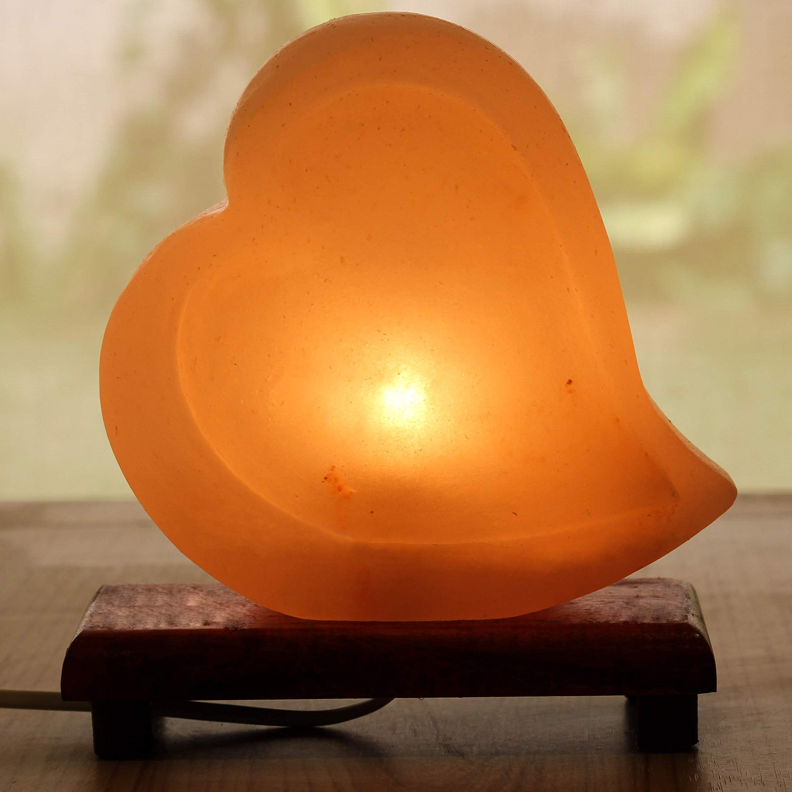 Mockins Natural Himalayan Salt Double Heart Shaped Lamp The Salt Lamp is Hand Carved with a Wooden Base and Dimmer - Best Mother's Day Gift … … … … … by Mockins (Image #2)