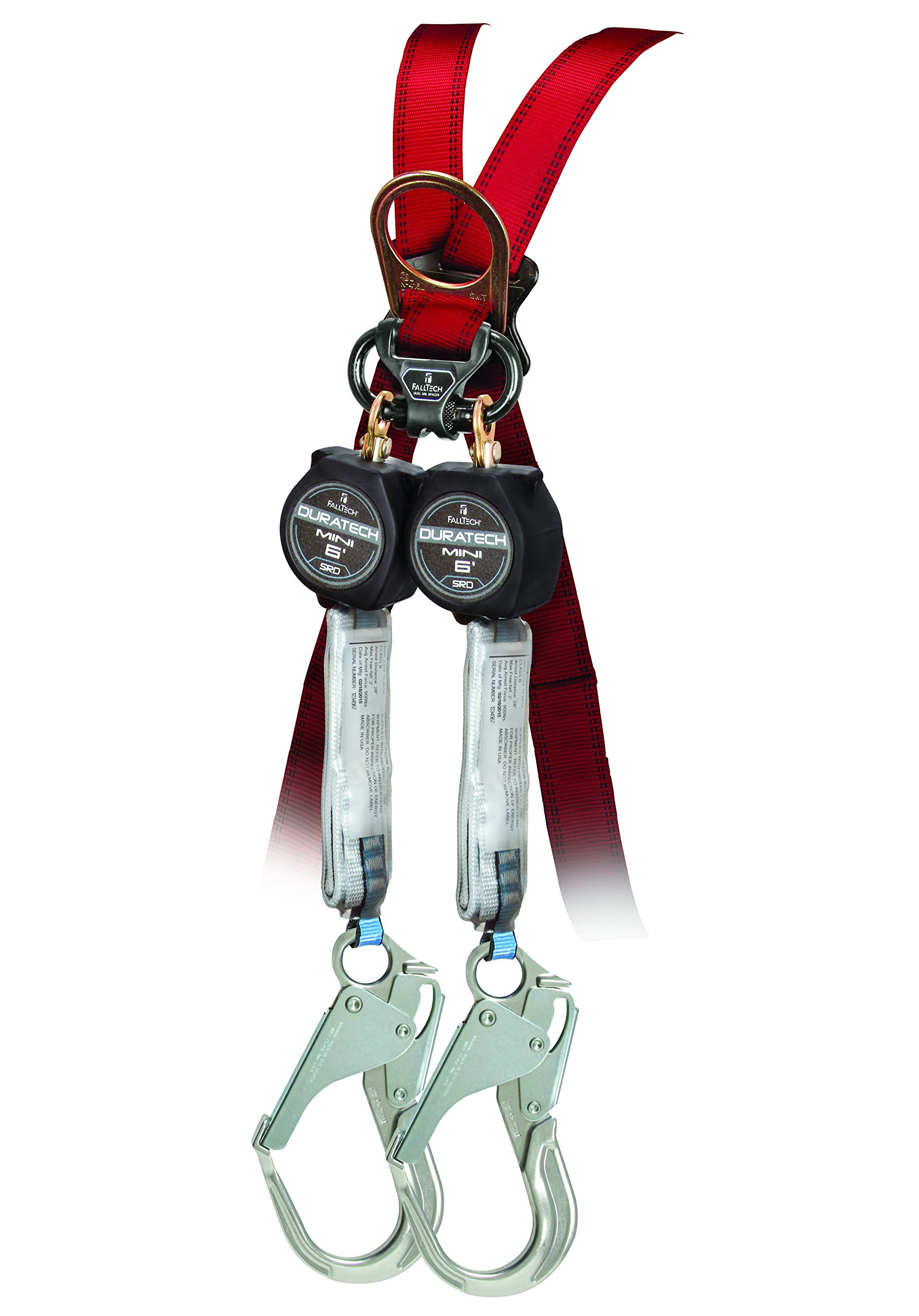 FallTech 72706TB5 MINI DuraTech 6' Compact Web SRL - 6' Mini SRD Twin-Leg Carabiner with Alignment Clip and Aluminum Rebar Hooks, 6', Black by FallTech (Image #1)