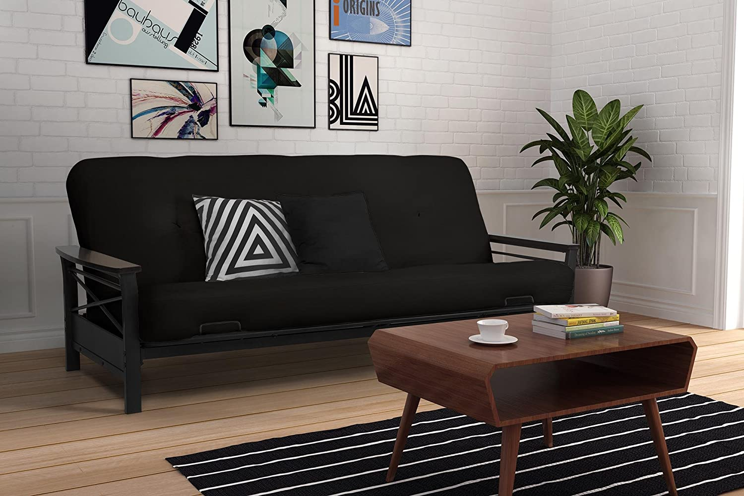 DHP Nadine Metal Futon Frame with Espresso Wood Armrests, Full Size, Mattress Not Included Dorel Home Furnishings 2101959