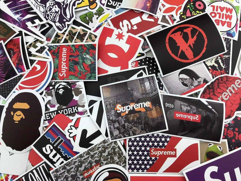 Amazon com 100 random sticker pack hypebeast supreme bape off white vlone streetwear automotive