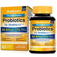 NewRhythm Probiotics 50 Billion CFU 20 Strains, 60 Veggie Capsules, Targeted Release...
