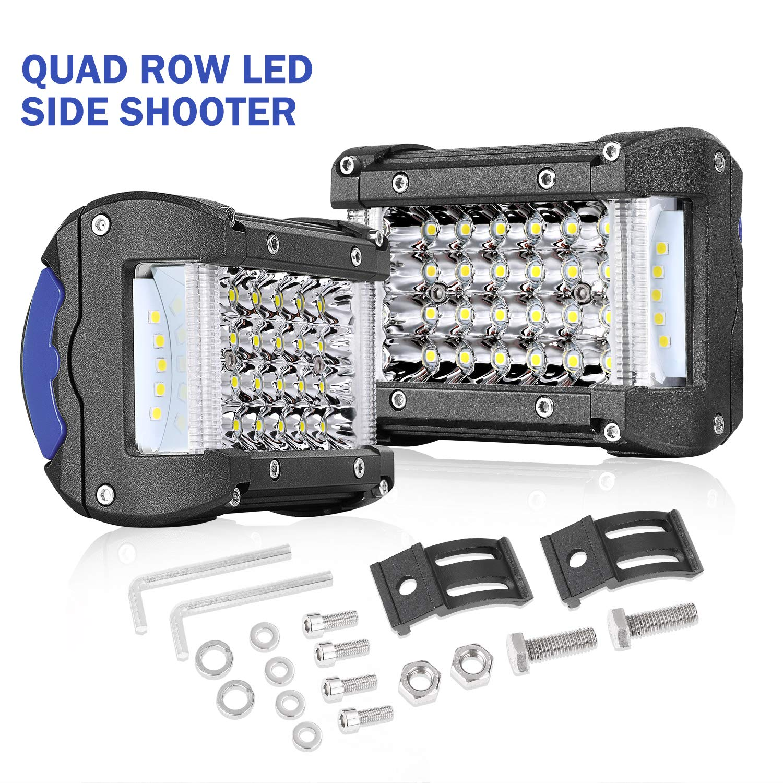 2 Years Warranty 15 Inch LED Light Bar Wayup 260W Quad Row LED Side Shooter Driving Light Off Road Spot Flood Combo LED Work Light Fog Lamps for Trucks Jeep ATV UTV 4x4 Boat