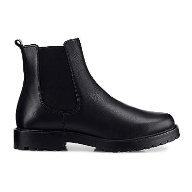 buy online d0b7a 4a375 Cox Damen Damen Chelsea-Boots aus Leder, Stiefeletten in Schwarz mit  elastischem Stretch-Einsatz