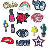 14 Pcs Iron On Embroidered Sequins Glitter Patch Set-Rainbow Blue Eyeball Lipstick Red Rose Red Lips Balloon Ice Cream Cactus Bling Eyes Twinkle Star Love Patch