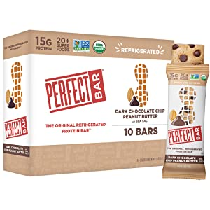 Perfect Bar Original Refrigerated Protein Bar, Dark Chocolate Chip Peanut Butter, 2.3 Ounce Bar, 10 Count