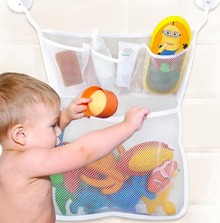 Bath Toy Storage, Extra Durable Bath Toy Holder, Mesh Bath Toy Organizer for Tub, Bathtub Toy Holder with 4 Suction Cups, Bath Toy Net Corner Caddy Basket, Baby Bath Toy Holders for The Tub
