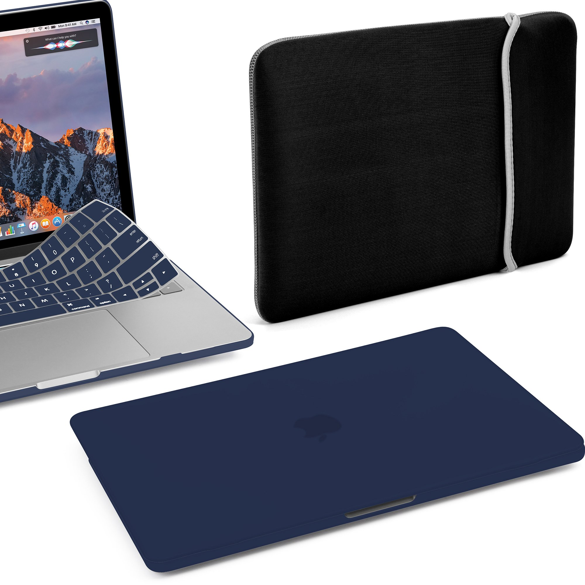GMYLE MacBook Pro 13 Case with/Without Touch Bar 2018 2017 2016 Release A1989/A1706/A1708, Plastic Hard Shell & with Keyboard Cover & Lycra Sleeve Compatible Newest Mac Pro 13 Inch, Navy Blue