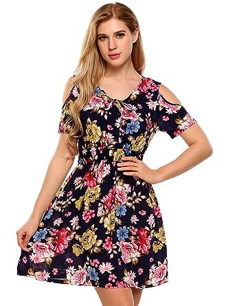 88a1dbffac5 TelDen Cold Shoulder Dresses for Women Plus Size Women s Floral Print Cold  Shoulder Elastic High Waist