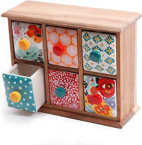 The Pioneer Woman Flea Market 6-Drawer Spice Tea Box