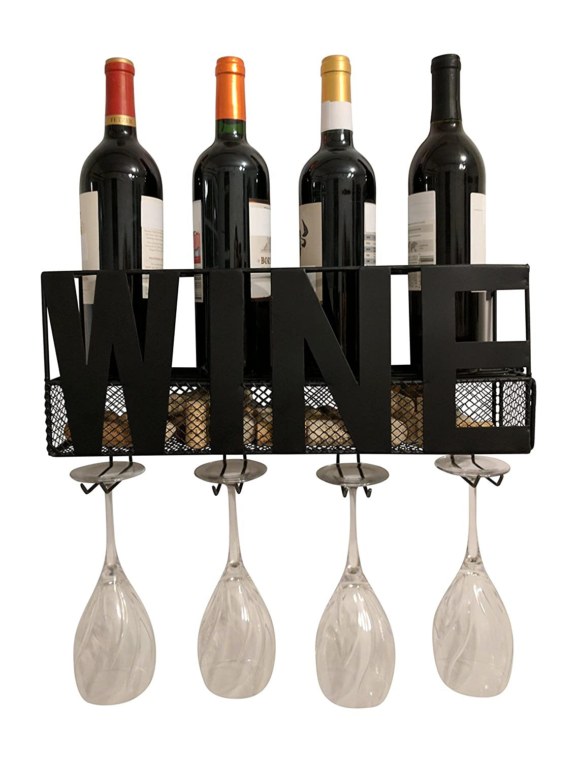 Gianna's Home Metal Wall Mounted Wine Rack and Cork Holder (Home)